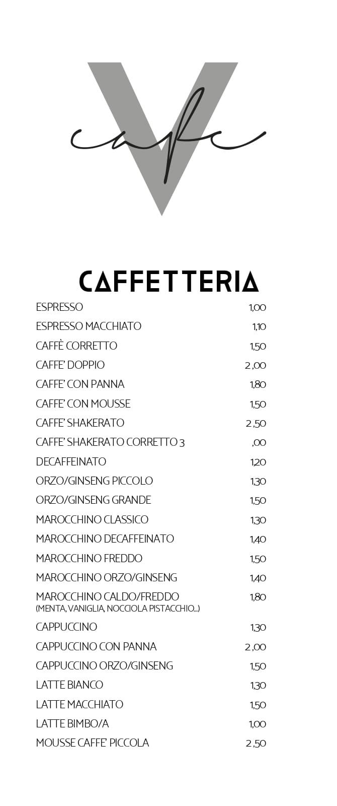 Vanity MENU CAFFETTERIA page 1