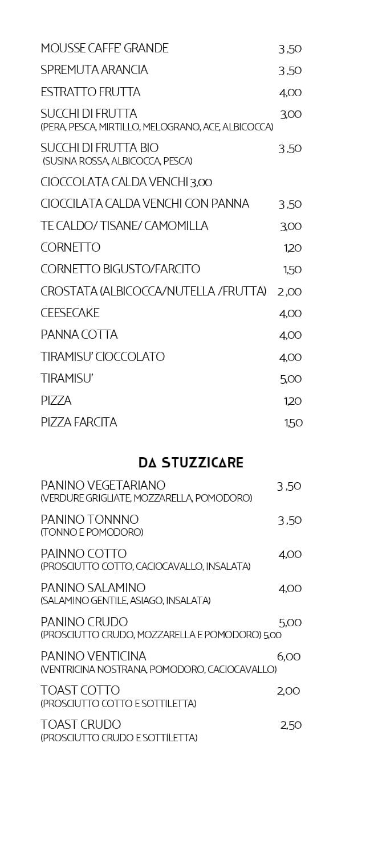 Vanity MENU CAFFETTERIA page 2