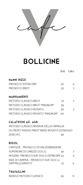 Carta Bollicine Vanity Cafe San Salvo