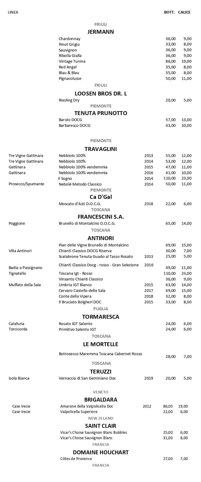 Carta Vini Vanity Lounge Restaurant